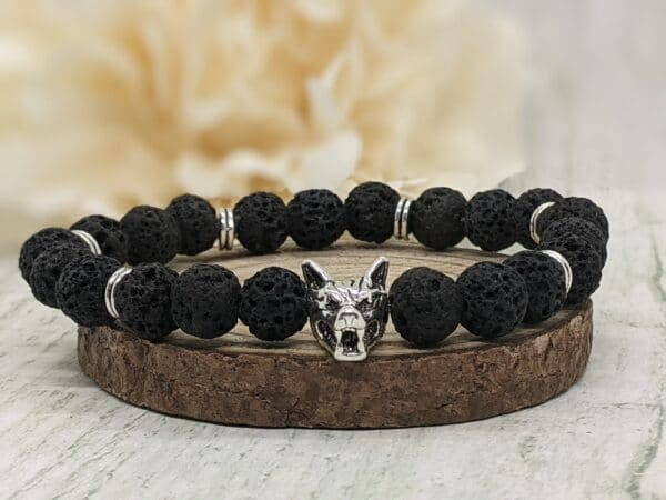 Natural Lava Stone Wolf Bracelet - product image 4