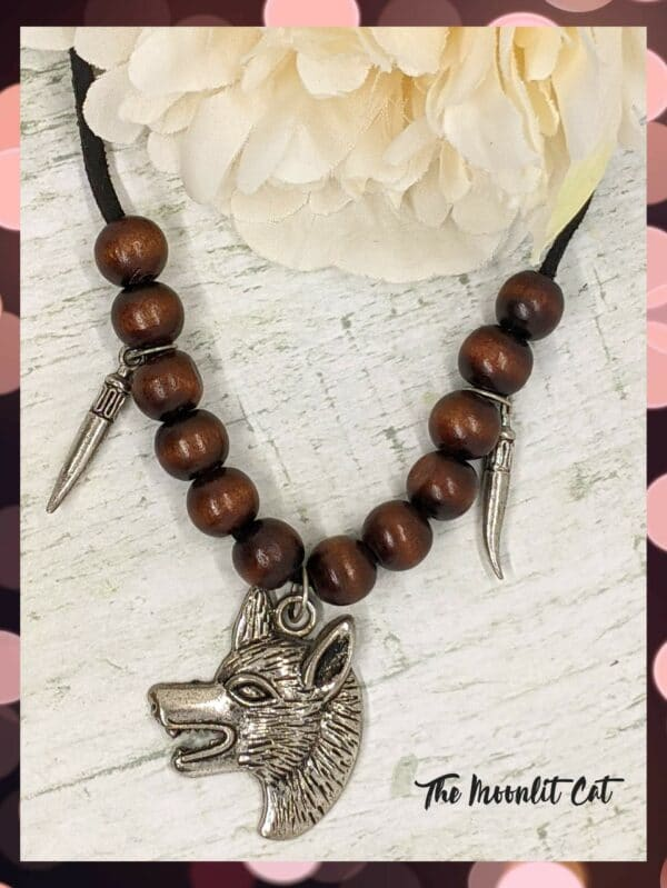 Faux Suede and Wood Bead Necklace with Pewter Wolf Head Pendant - product image 4