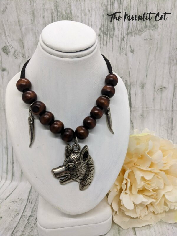 Faux Suede and Wood Bead Necklace with Pewter Wolf Head Pendant - main product image