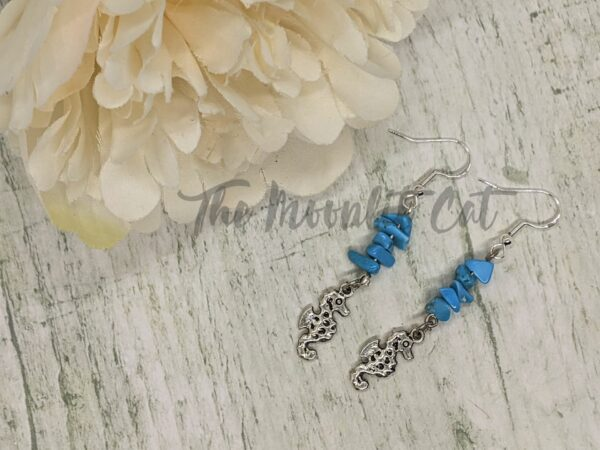 Turquoise Howlite Gemstone Drop Earrings with Tibetan Silver Seahorse Charm - main product image