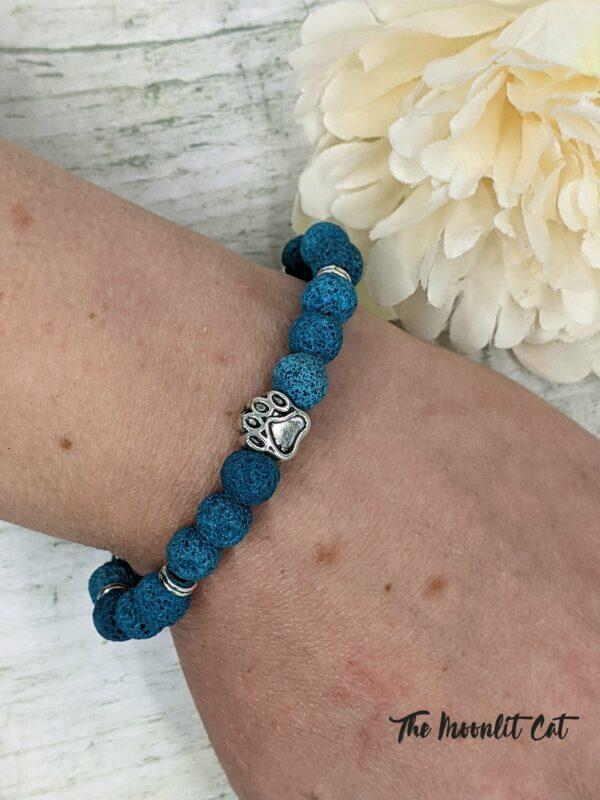Dyed Natural Lava Stone Paw Print Bracelet - product image 3