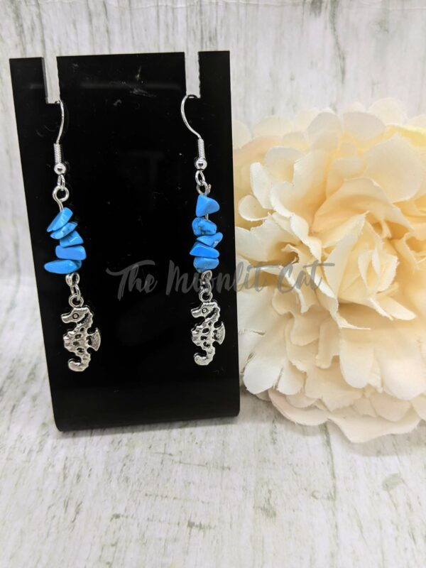 Turquoise Howlite Gemstone Drop Earrings with Tibetan Silver Seahorse Charm - product image 5
