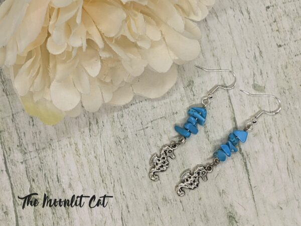 Turquoise Howlite Gemstone Drop Earrings with Tibetan Silver Seahorse Charm - product image 2