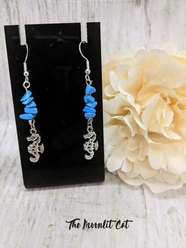 Turquoise Howlite Gemstone Drop Earrings with Tibetan Silver Seahorse Charm - product image 4