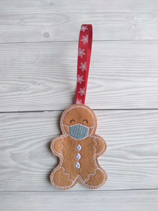 Gingerbread with face mask christmas decoration - product image 2