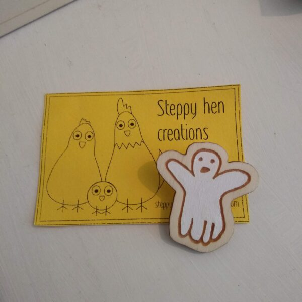 Hand drawn ghost brooch or fridge magnet   Laser engraved wood - product image 2