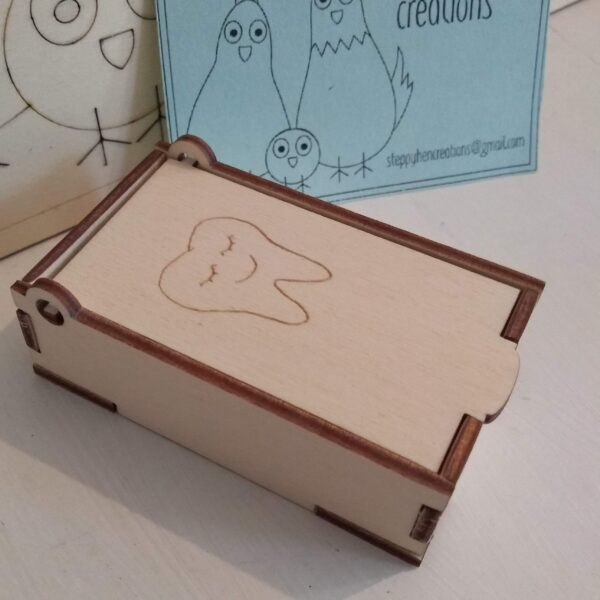 Small box for tooth fairy visit | Laser cut and engraved wood - product image 2