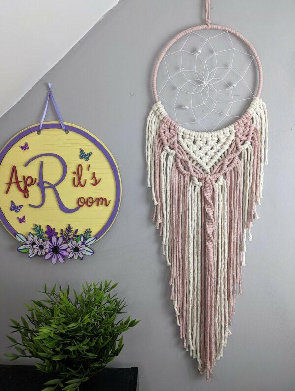 Macrame Dreamcatcher Pink & ecru boho bedroom decor - main product image