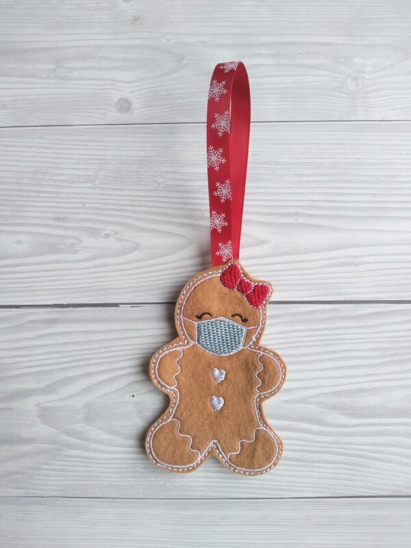 Gingerbread with face mask christmas decoration - product image 3