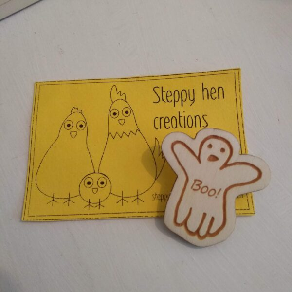 Hand drawn ghost brooch or fridge magnet   Laser engraved wood - product image 3