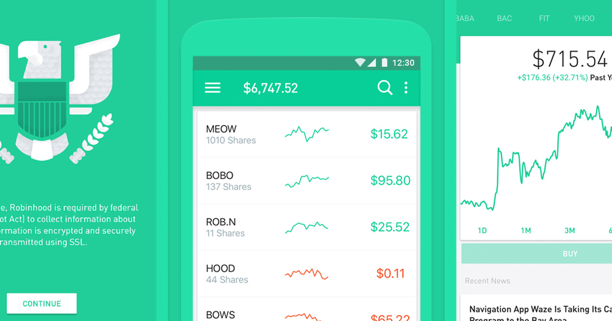 Image result for Robinhood material design  app