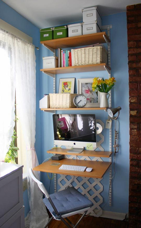 Think Vertical for a Space Saving Home Office   Apartment ...