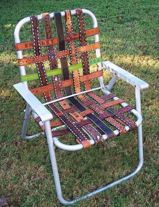 Salvage A Lawn Chair With Leather Belts