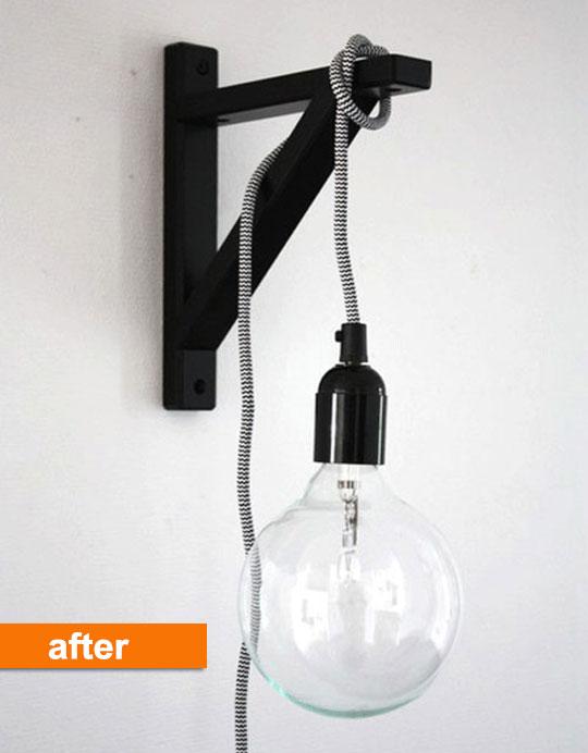 Before After An Ikea Bracket Turned Modern Wall Light