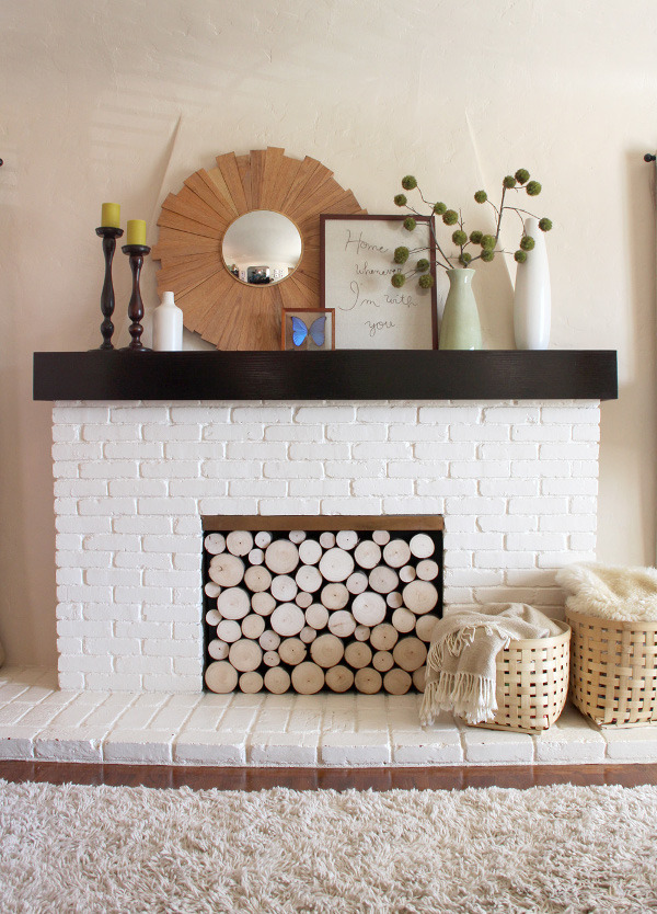 Diy Decorating Project Idea Faux Stacked Log Fireplace Facade Apartment Therapy