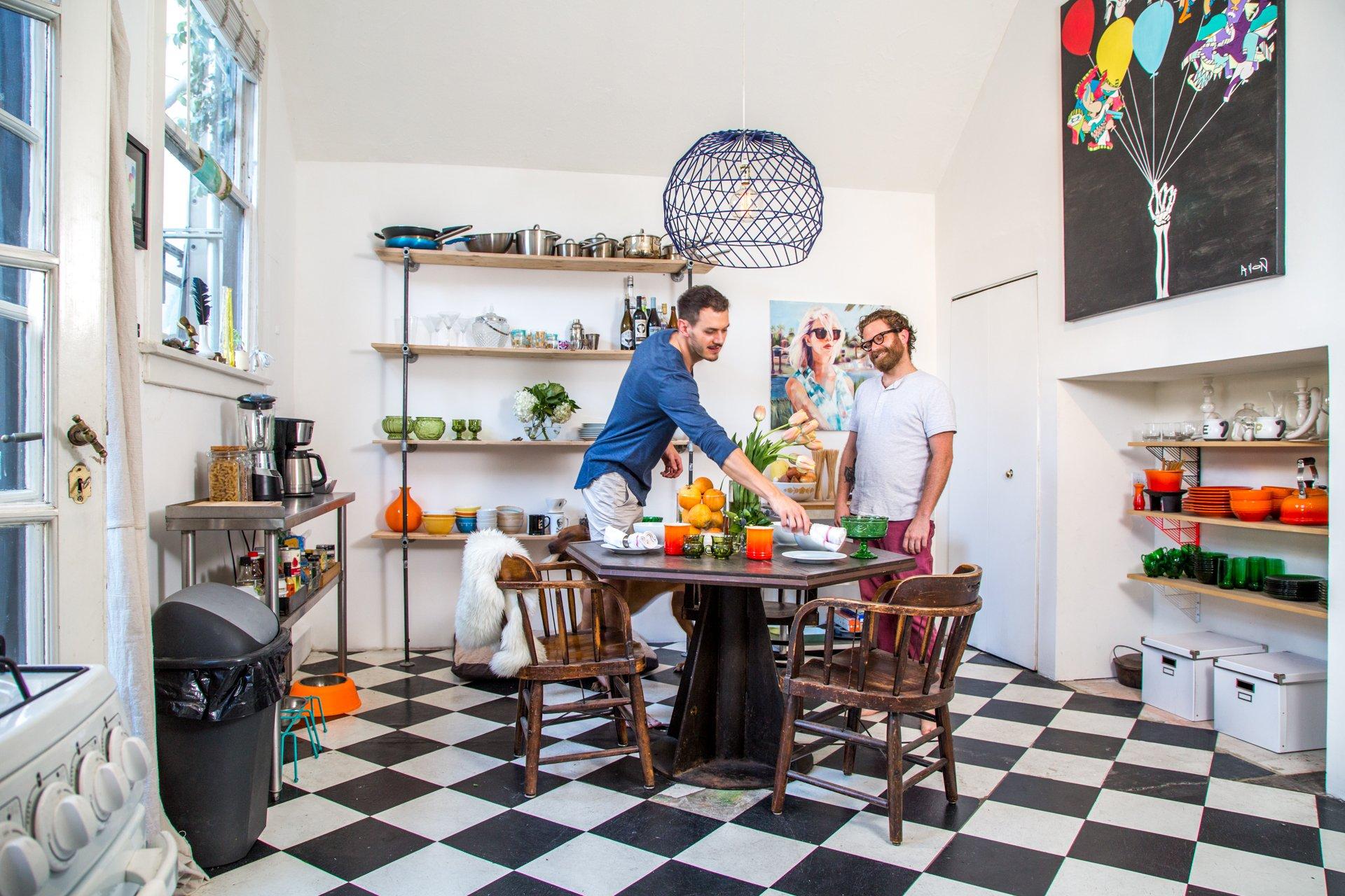 White Checkered Kitchen Floors