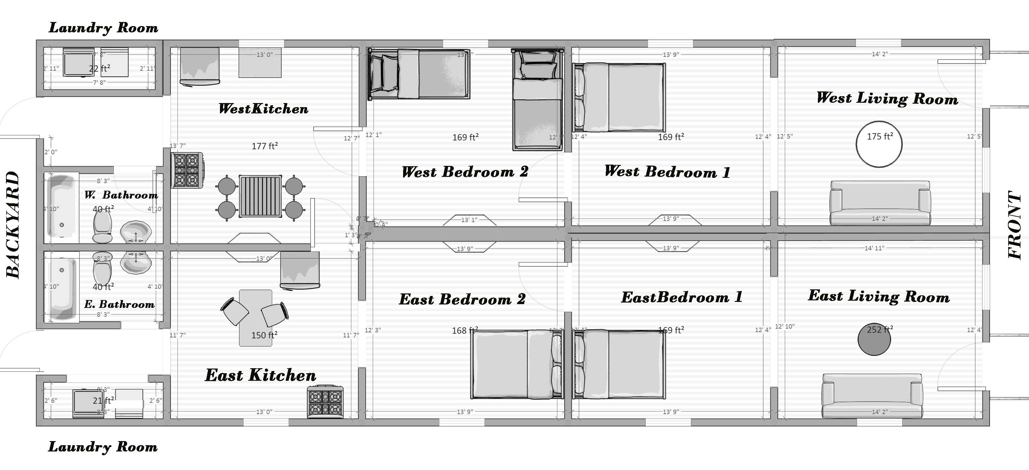 How to Lay Out a Narrow, Railroad-Style Apartment ... Shotgun House Plans Bedroom on