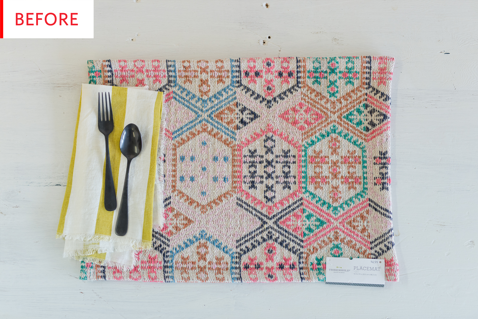 Before and After: Another Gorgeous Use For a Cheap Placemat