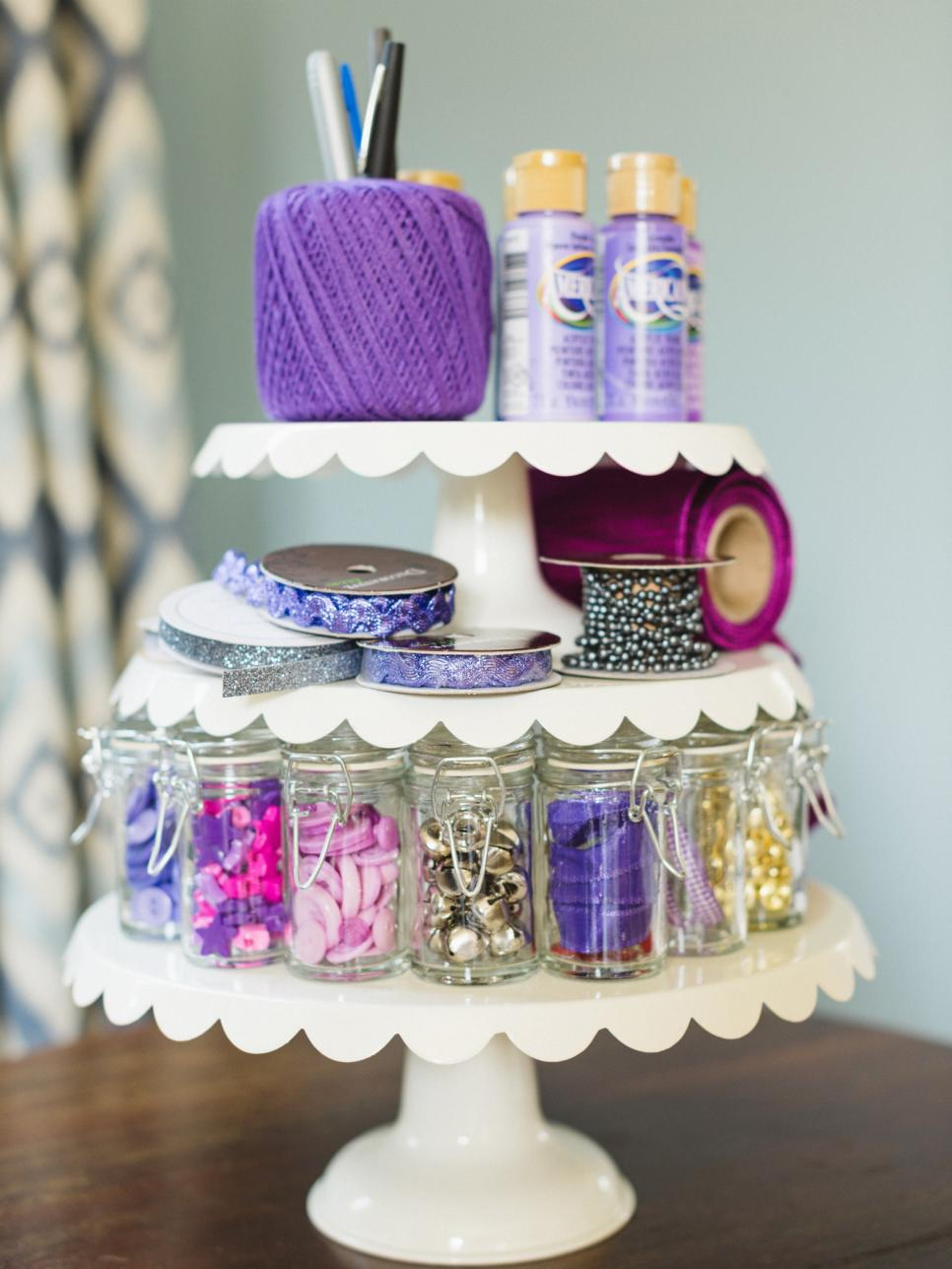 Organizing Hacks Using A Cake Stand For Storage Apartment Therapy