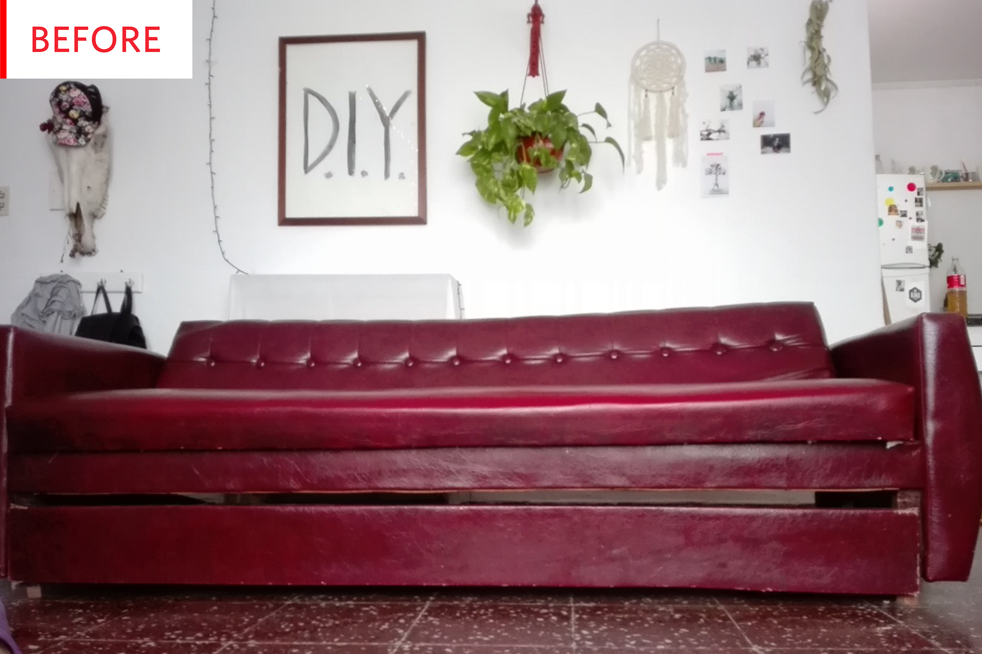 Before and After This Sofa Makeover Took 10 Minutes and $20 of