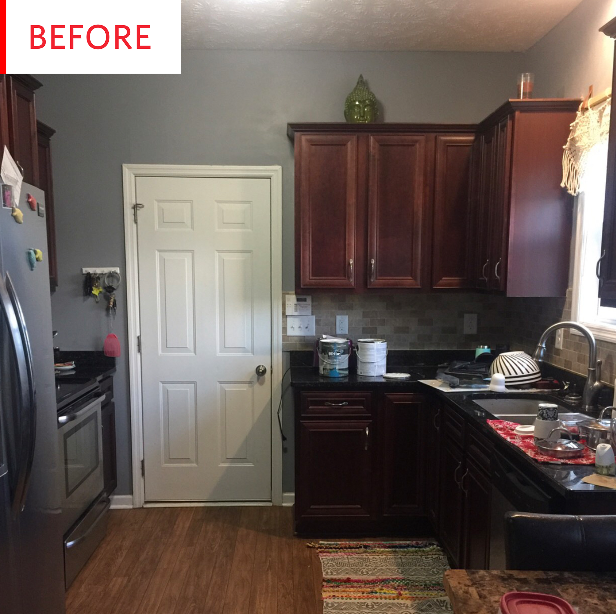 Colorful Kitchen Before And After Blue Painted Cabinets Apartment Therapy