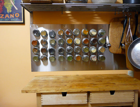 How To Make a Wall-Mounted Magnetic Spice Rack | Kitchn