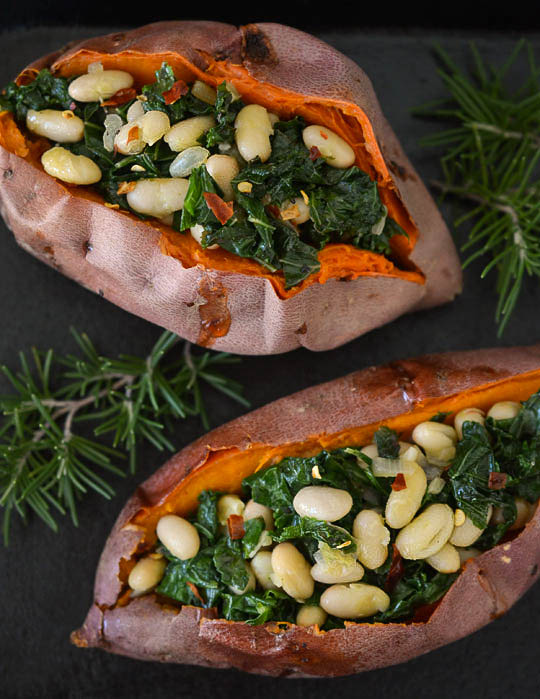 Simple Supper Recipe: Savory Stuffed Sweet Potatoes with White Beans and Kale | Kitchn
