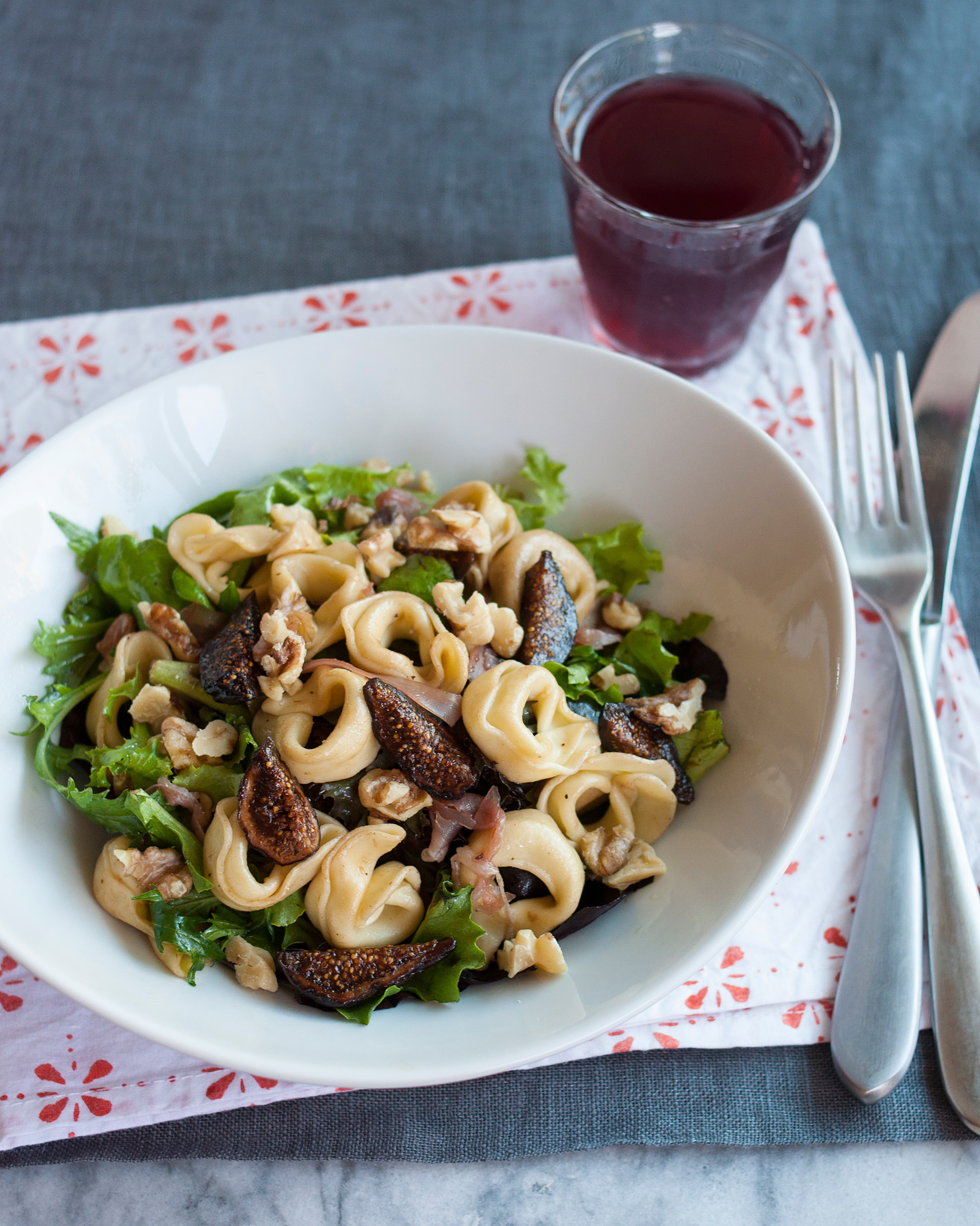 Quick Lunch Recipe: Tortellini Salad with Figs, Walnuts, Prosciutto & Greens | Kitchn