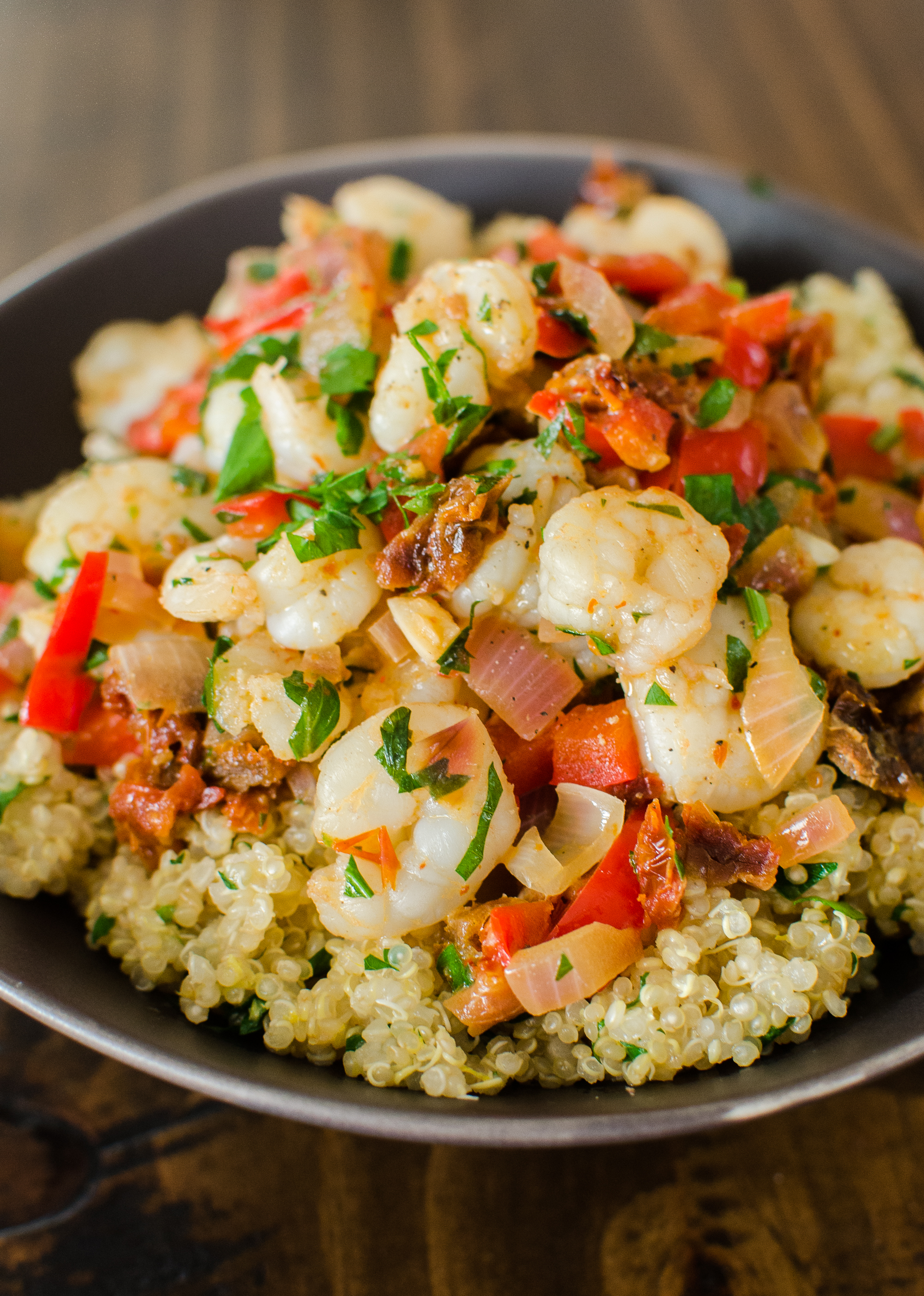 Quick Dinner Recipe: Saucy Sautéed Shrimp over Lemon Quinoa | Kitchn
