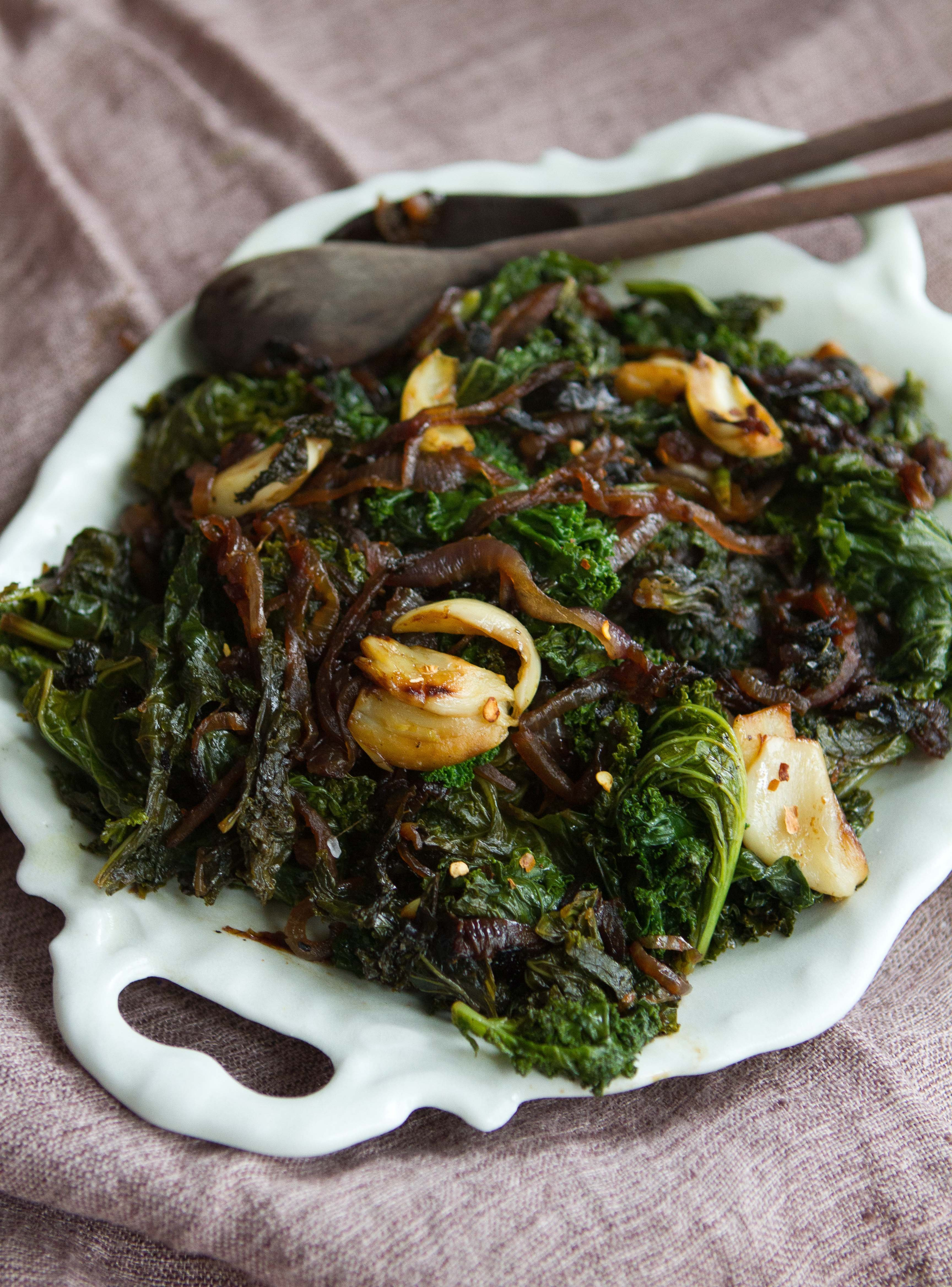 Recipe: Slow-Cooked Kale with Smashed Garlic & Red Onions   Kitchn