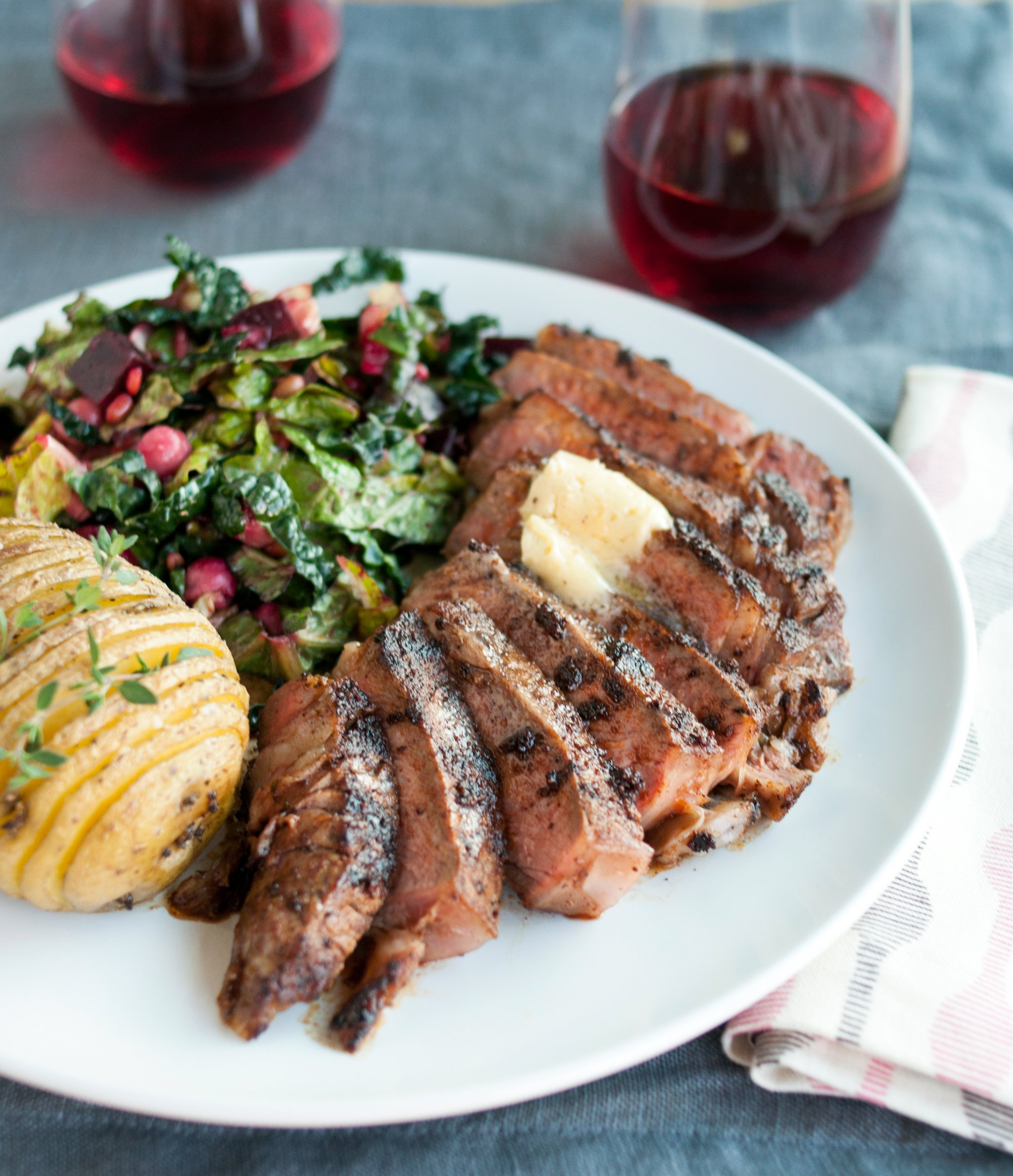 Recipe Chili Rubbed Ribeye Steak With Maple Bourbon Butter Kitchn