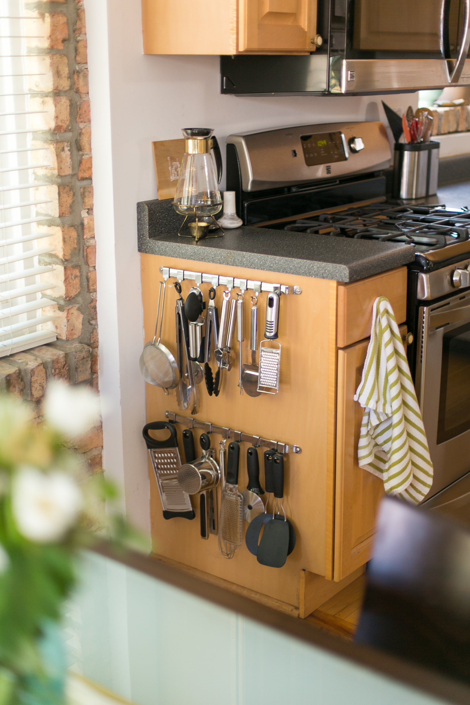 Rachel & Brian's Clever Side Cabinet Utensil Storage | Kitchn