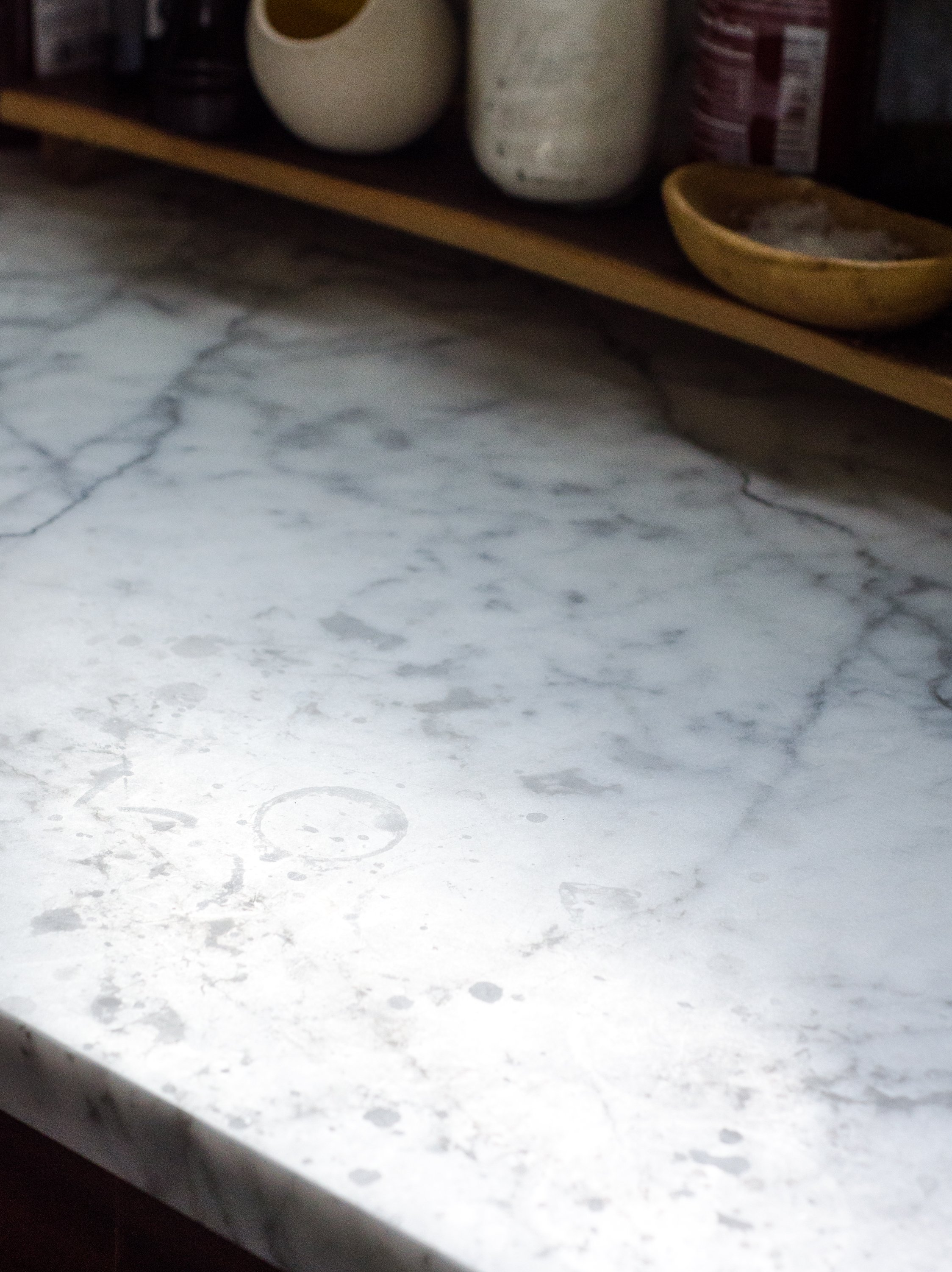 Here's What an Etch on a Marble Countertop Actually Looks Like | Kitchn