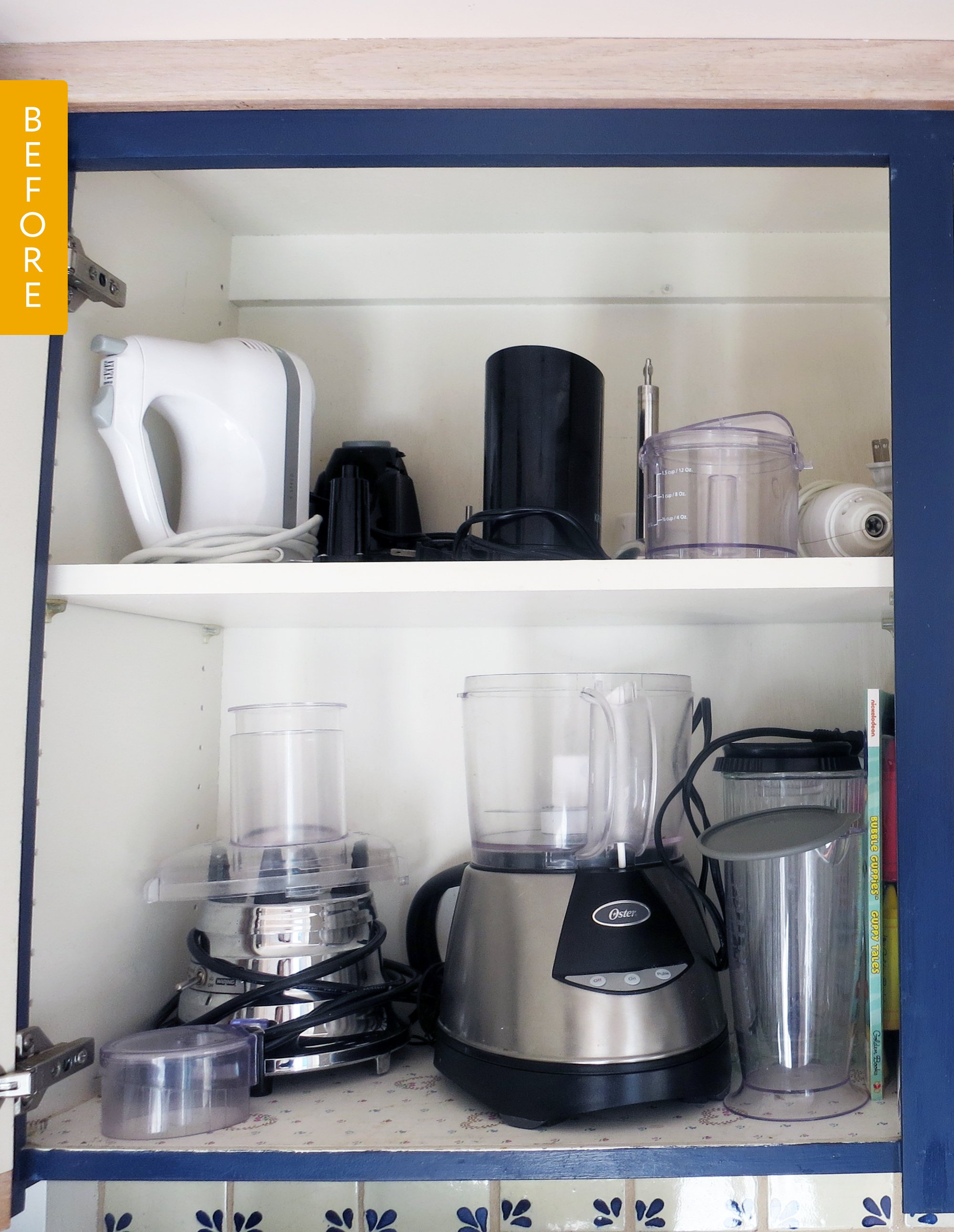 Appliance Cabinet Before After I Discovered The Best Way To Store Food Processor Blades Kitchn
