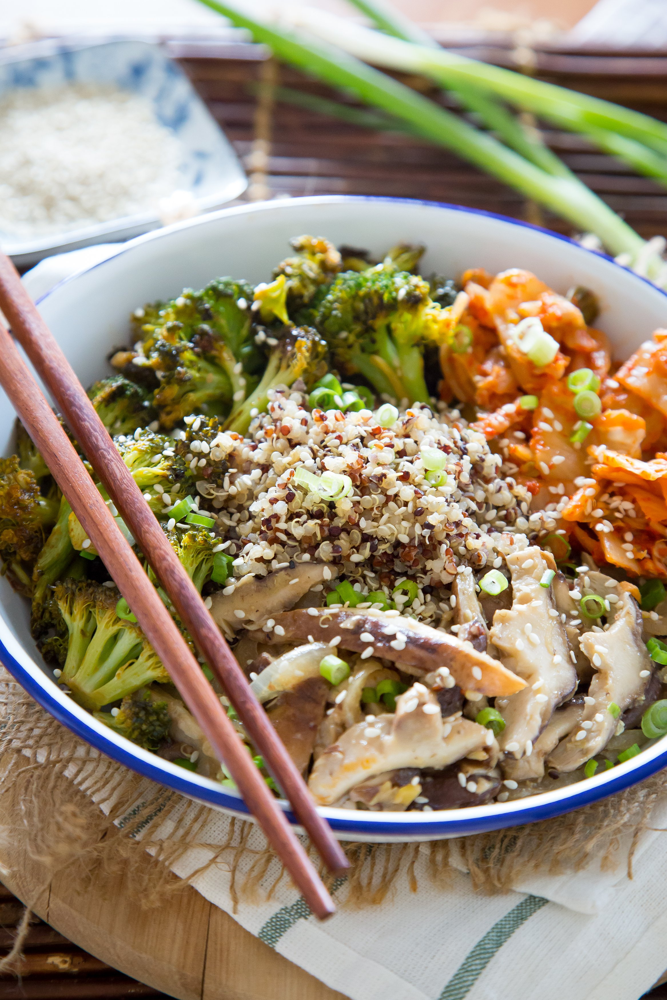 Quinoa Kimchi Bowl With Miso Mushrooms And Crispy Broccoli