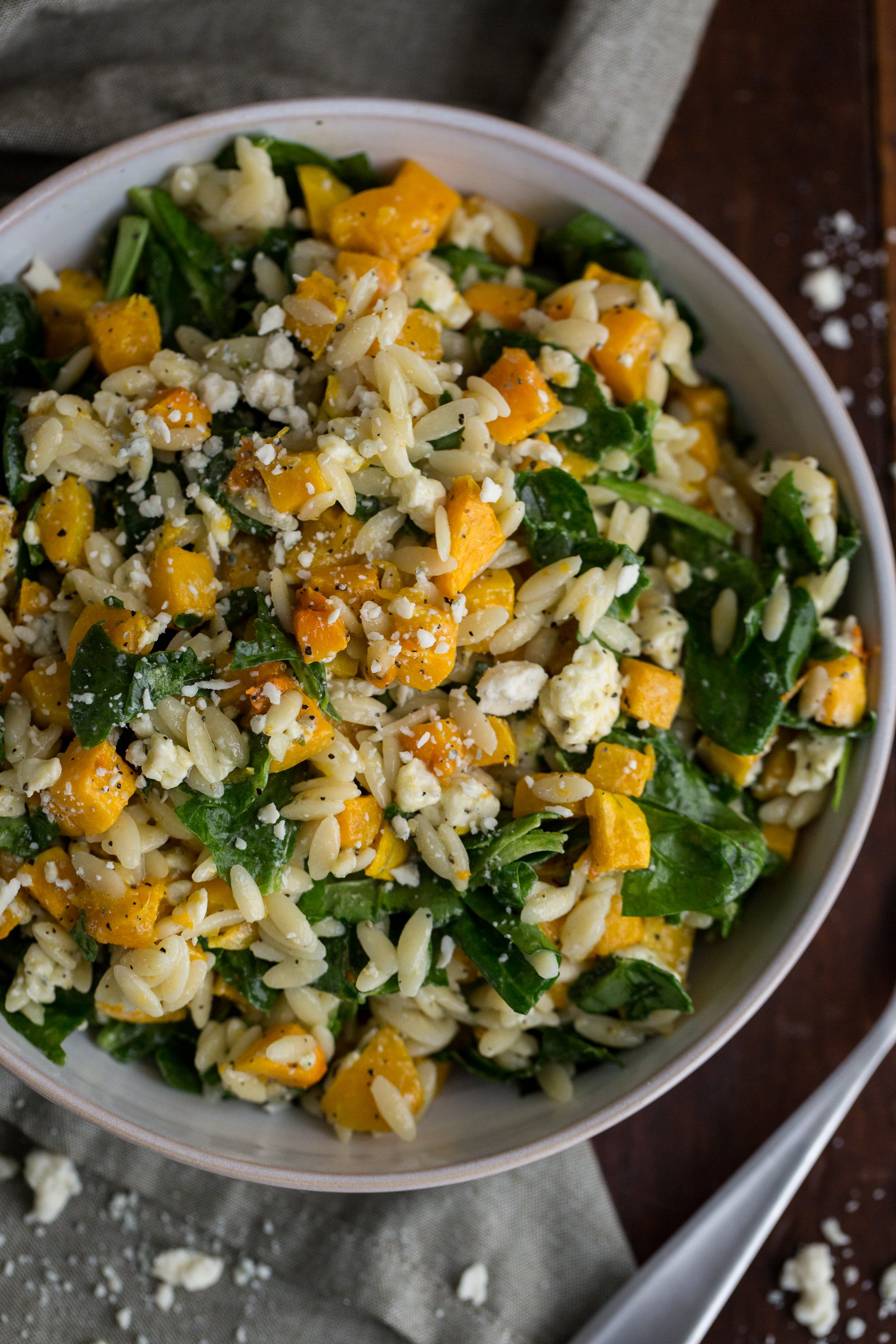 Recipe: Orzo with Butternut Squash, Spinach, and Blue Cheese | Kitchn
