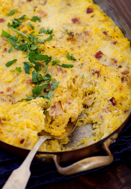 Recipe: Baked Spaghetti Squash Carbonara | Kitchn