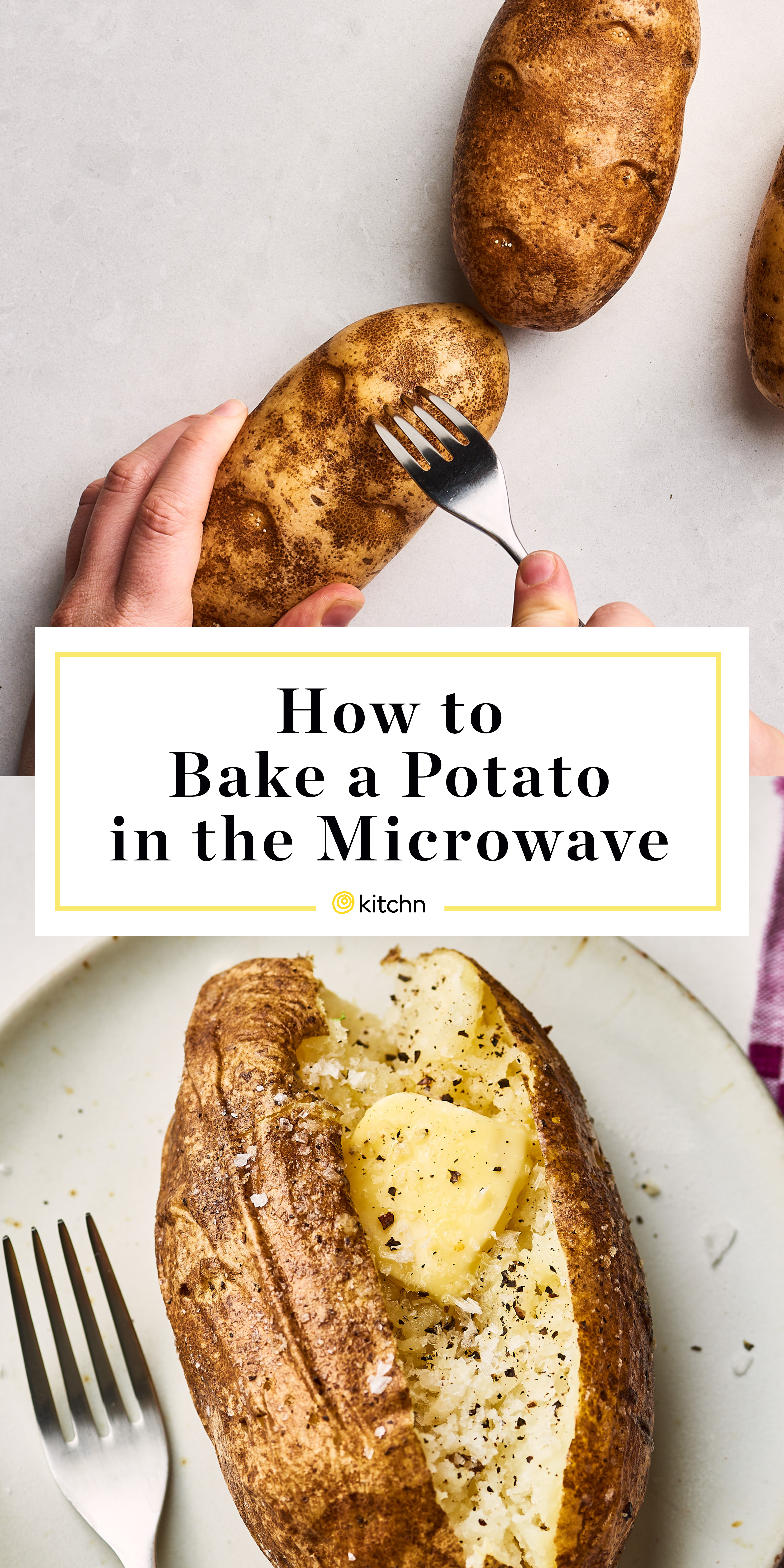 Microwave potatoes before baking them