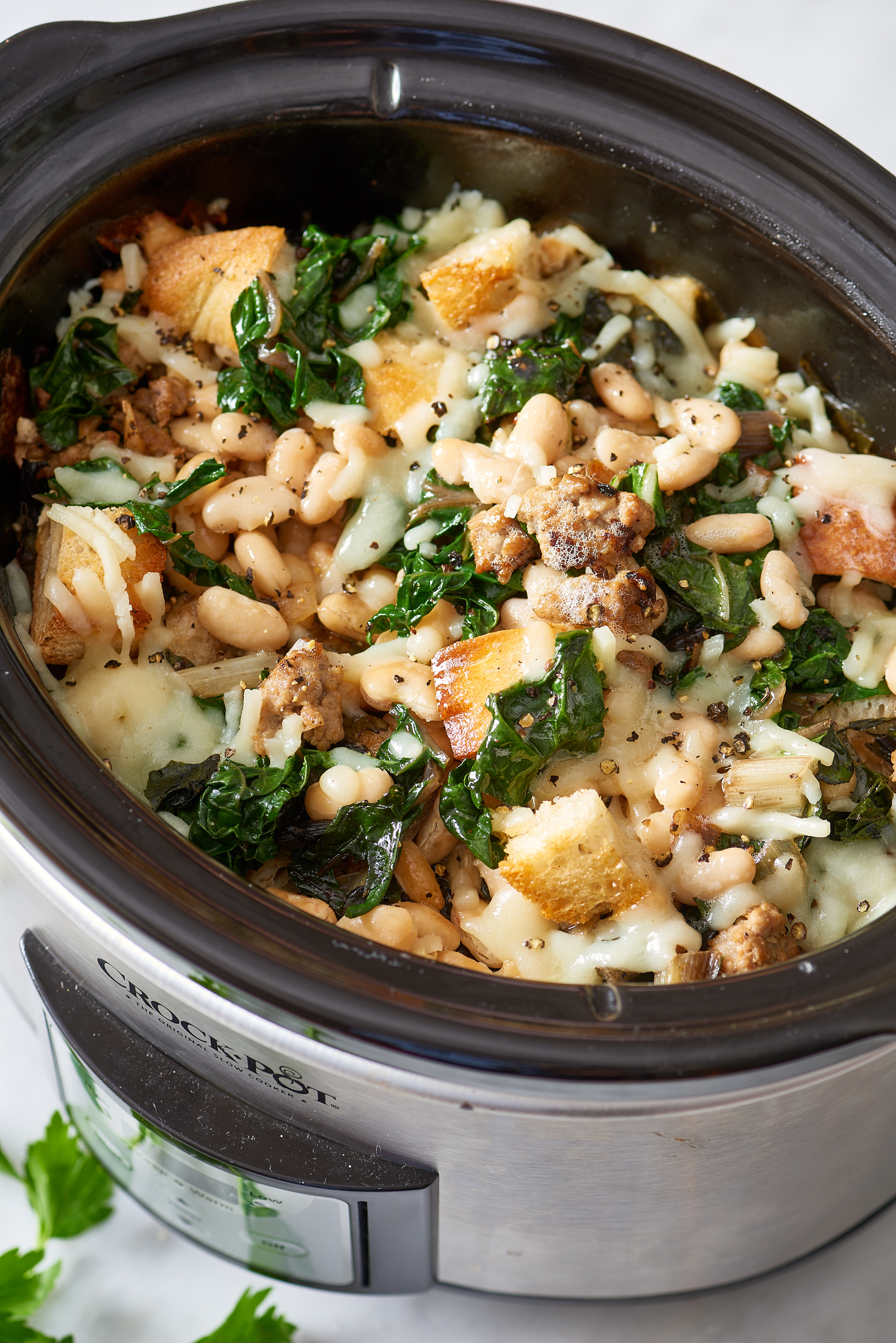 Slow Cooker Recipe: Cheesy Panade with Swiss Chard, Beans & Sausage | Kitchn