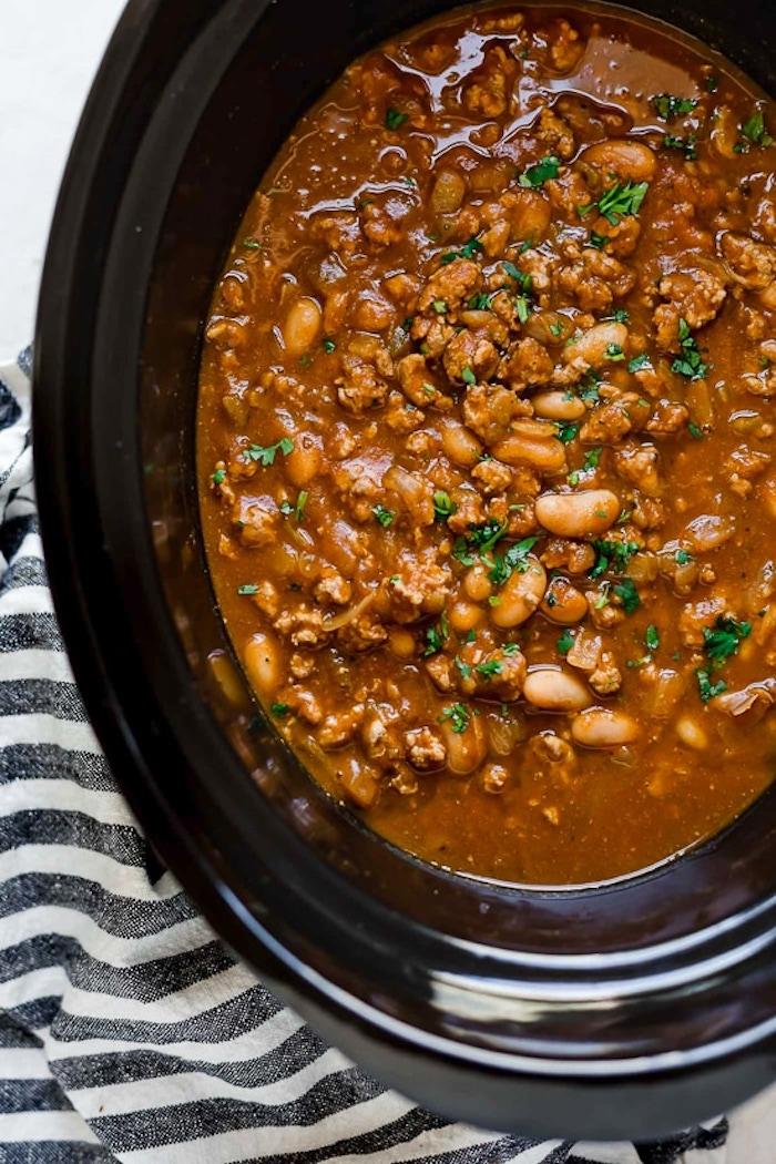 Turkey Pumpkin White Bean Chili Recipe Skinnytaste Kitchn