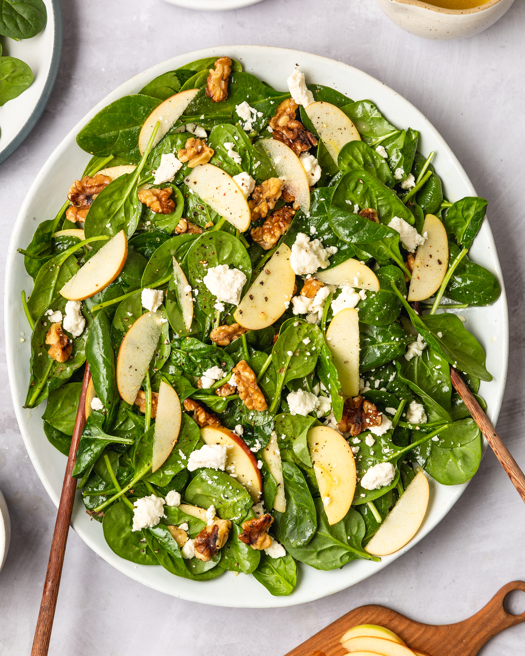 Spinach Salad With Apples Walnuts And Feta Kitchn