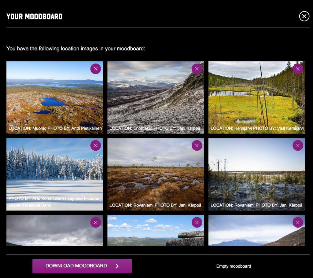 House of Lapland lokaatiopankin moodboard