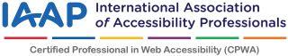 IAAP logo saavutettavuuden ammattilaisen CPWA sertifiointi