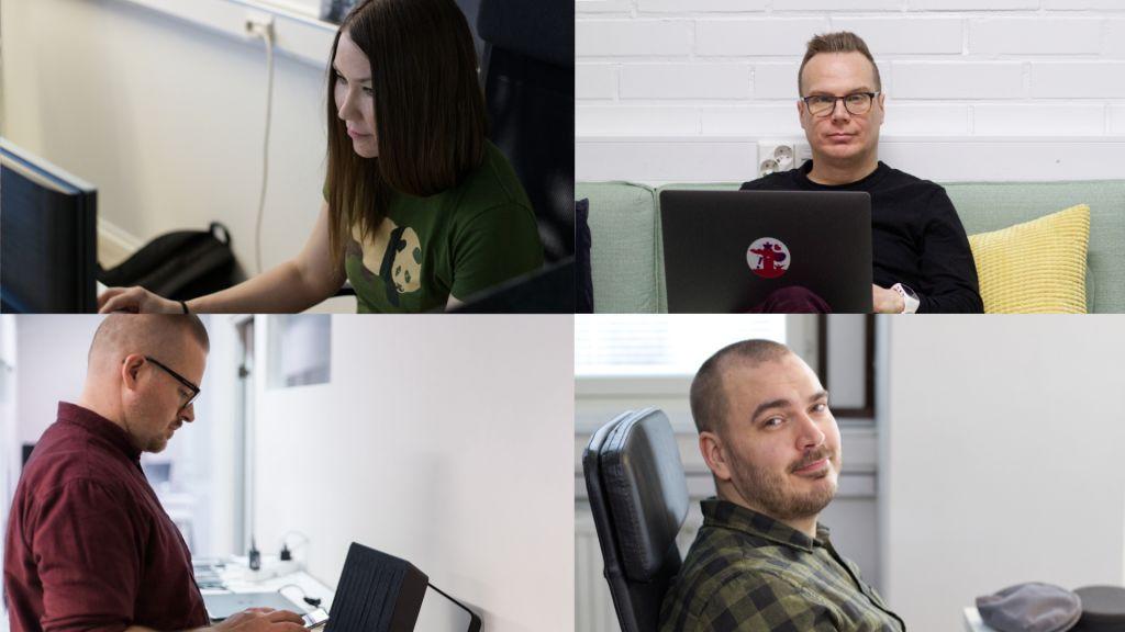 Geniemin uusia työntekijöitä: Mikaela, Samu, Sakari ja Ville.