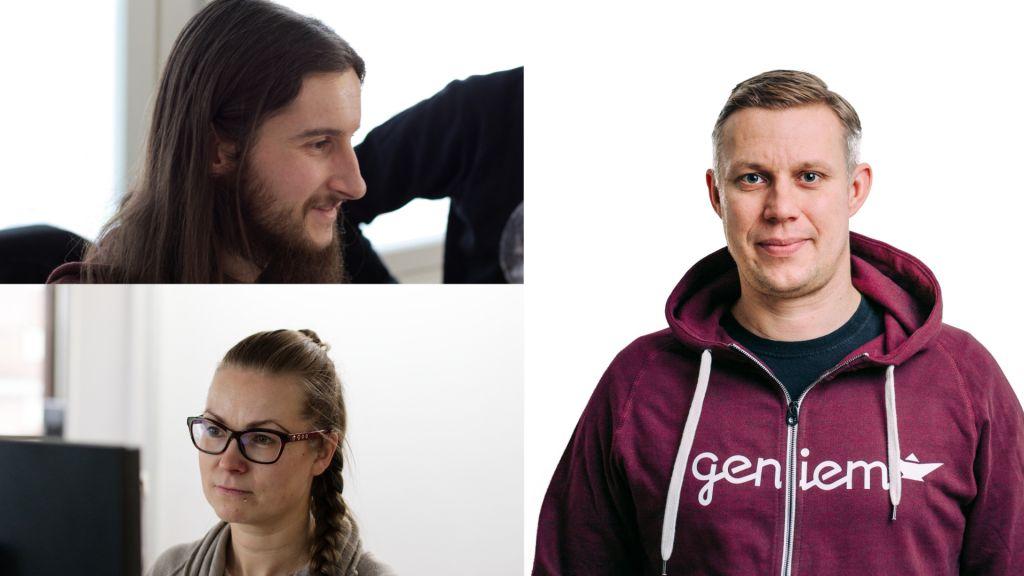 Geniemin uusia työntekijöitä: George, Mikko ja Marika.