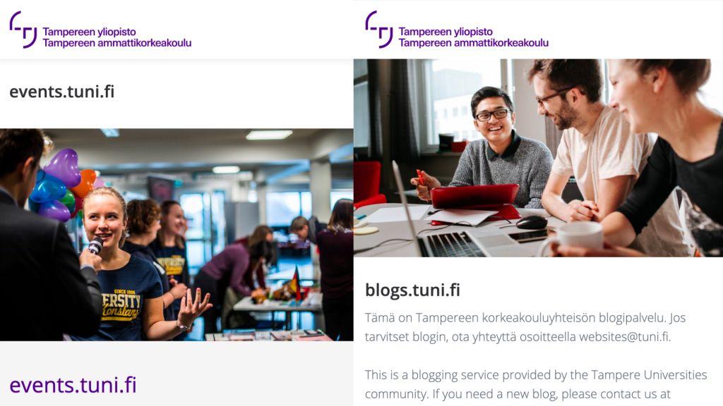Yhtenäisiä teemapohjia Tampereen korkeakouluyhteisön WordPress-kotisivukoneessa - events.tuni.fi ja blogs.tuni.fi