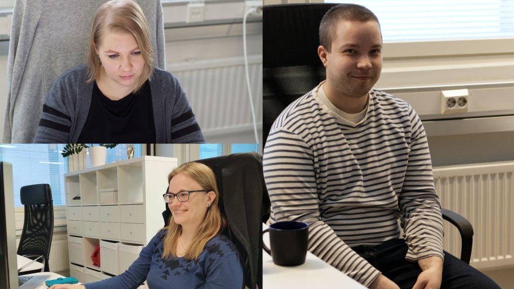 Geniemin uusia työntekijöitä: Johanna, Joonas ja Sini.