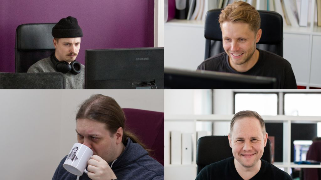 Geniemin uusia työntekijöitä: Henkka, Jaakko, Risto ja Jussi