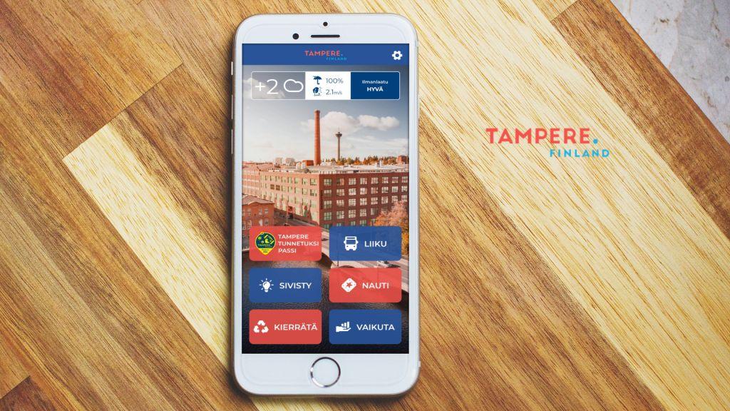 Tampere.Finland mobiilisovellus maaliskuussa 2020 - Geniem