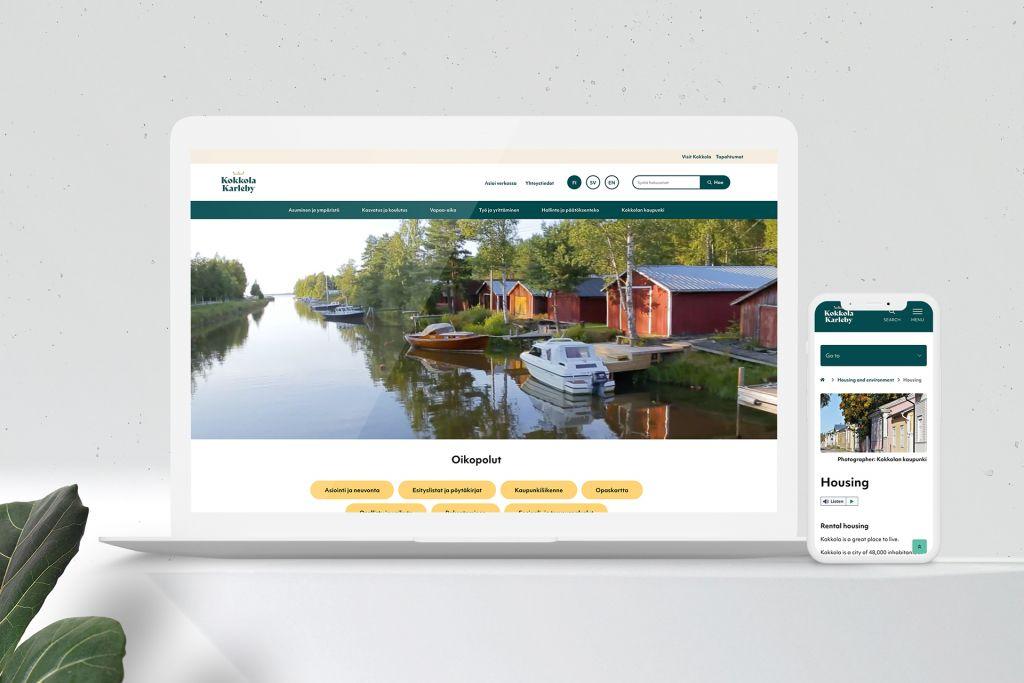 Kokkola.fi-WordPress -toteutuksessa kaupungin palvelut selkeästi esillä